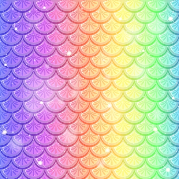 Rainbow fish scale seamless pattern background Free Vector