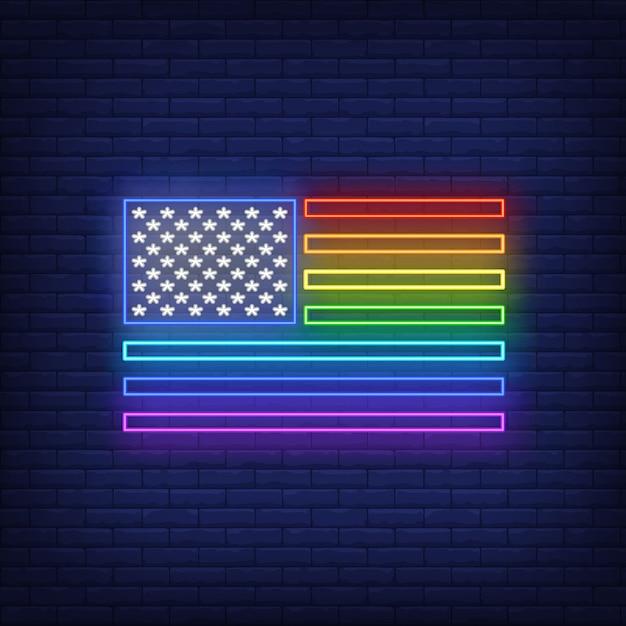 Rainbow flag neon sign Free Vector