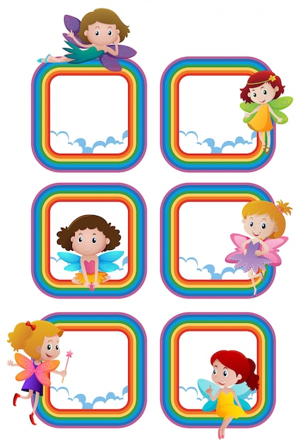 Rainbow frame templates with fairies flying Vector | Premium Download