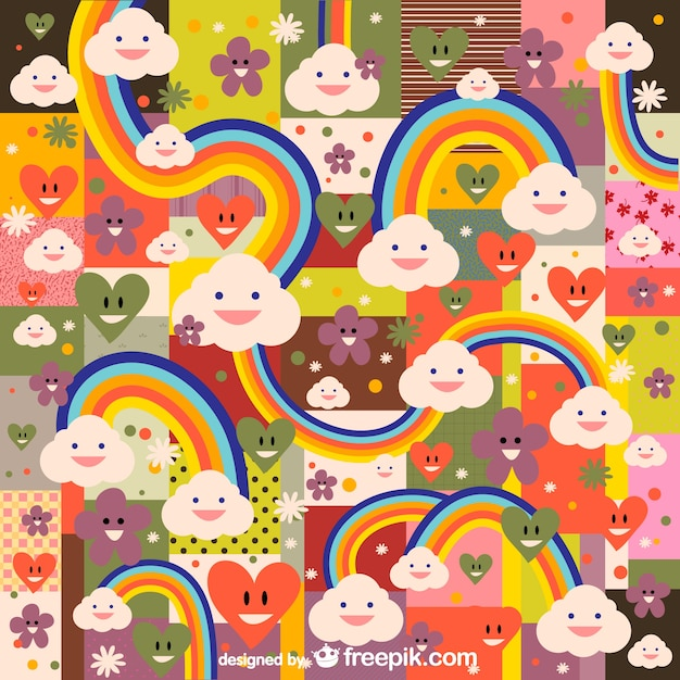 Rainbow kawaii pattern Free Vector