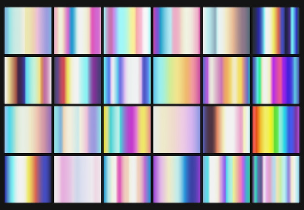 Rainbow metallic gradients with holographic colors vector templates Premium Vector