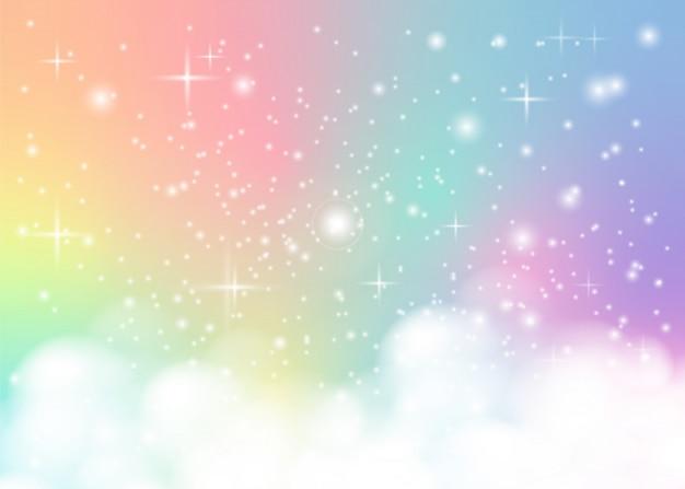 Rainbow paradise pastel background Premium Vector