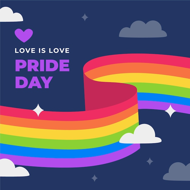 Rainbow pride flag in the night Free Vector