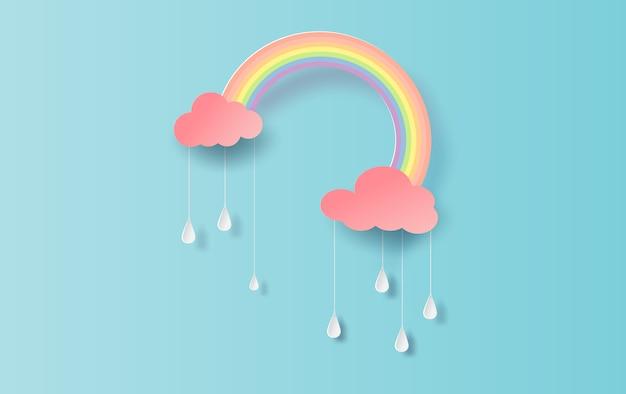 Rainbow in the rainy season. Premium Vector