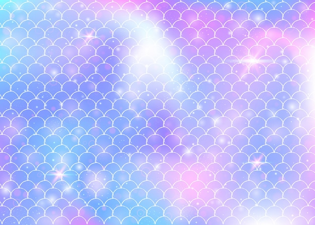Rainbow scales background with kawaii mermaid princess pattern. Premium Vector