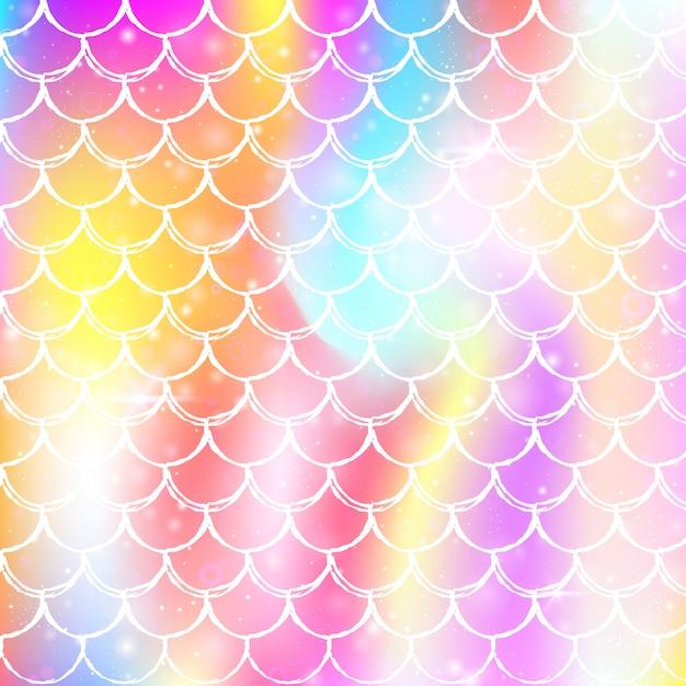 Rainbow scales background with kawaii mermaid princess pattern. Premium Vector