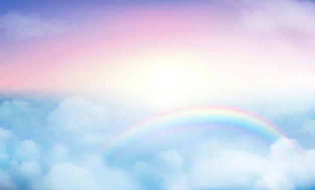 Rainbow on sky background Premium Vector