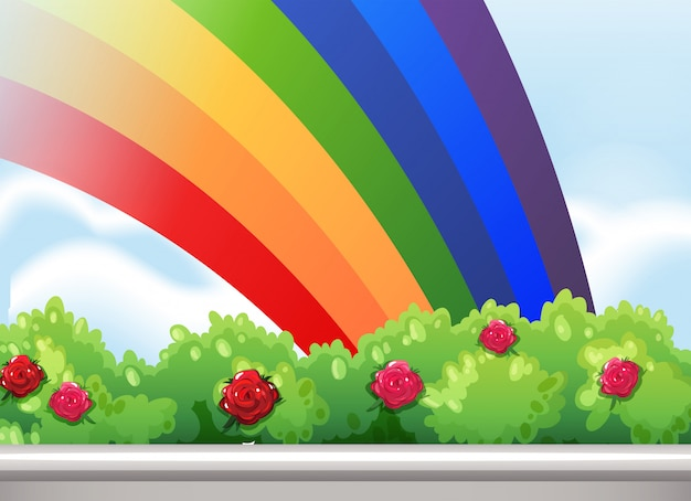 A rainbow in the sky Free Vector