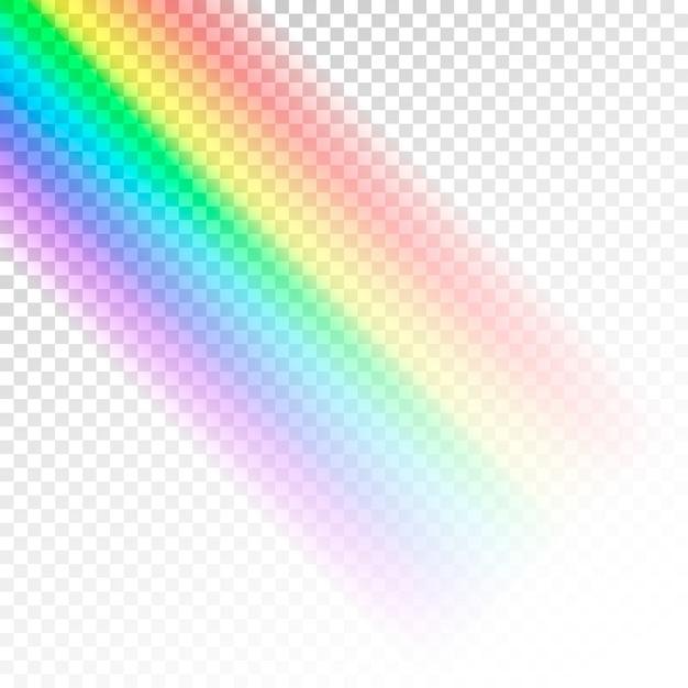 レインボーテンプレート。透明な背景に分離された光の抽象的なカラフルなスペクトル Premiumベクター