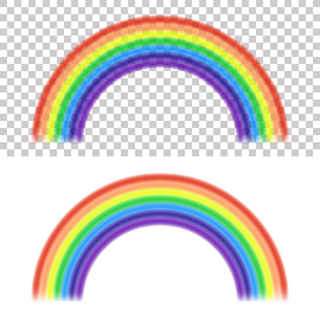 Rainbow on transparent and white background Free Vector