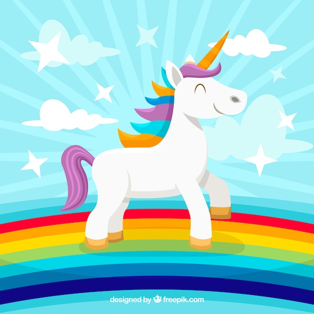 Rainbow Unicorn Background In The Free Vector