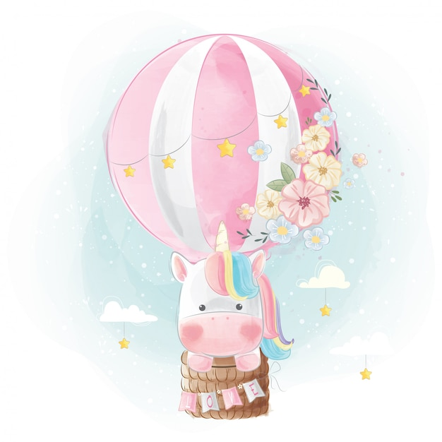 Rainbow unicorn flying with balloon Premium Vector