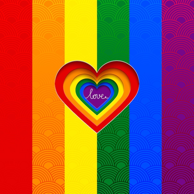 Rainbow vector heart celebrate the equality of love Premium Vector