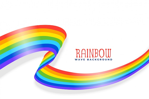 Rainbow wavy ribbon or flag background Free Vector