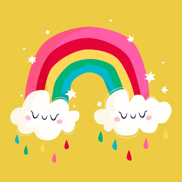 Rainbow with clouds Free Vector