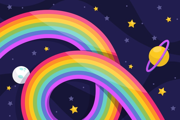Rainbow with stars Free Vector