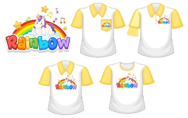 유니콘 로고와 흰색 배경에 고립 된 노란색 짧은 소매와 다른 흰색 셔츠 세트 무지개 프리미엄 벡터