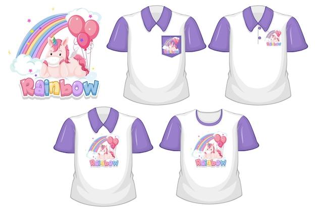 유니콘 로고와 흰색 배경에 고립 된 보라색 짧은 소매와 다른 흰색 셔츠 세트와 무지개 무료 벡터
