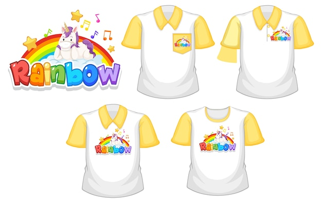 Rainbow with unicorn logo and set of different white shirt with yellow short sleeves isolated on white background Premium Vector