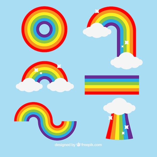 Коллекция радуг с различными формами в плоском сале Бесплатные векторы