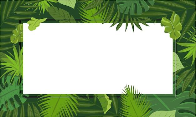 Rainforest concept frame background, cartoon style Premium Vector