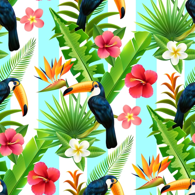 Rainforest toucan flat seamless pattern Free Vector