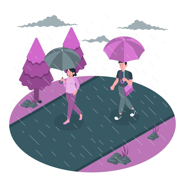 Raining concept illustration Free Vector