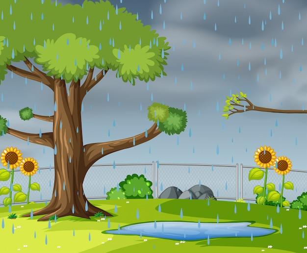 Raining in the garden Free Vector