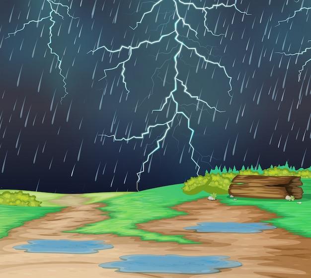 Raining in nature landscape Free Vector