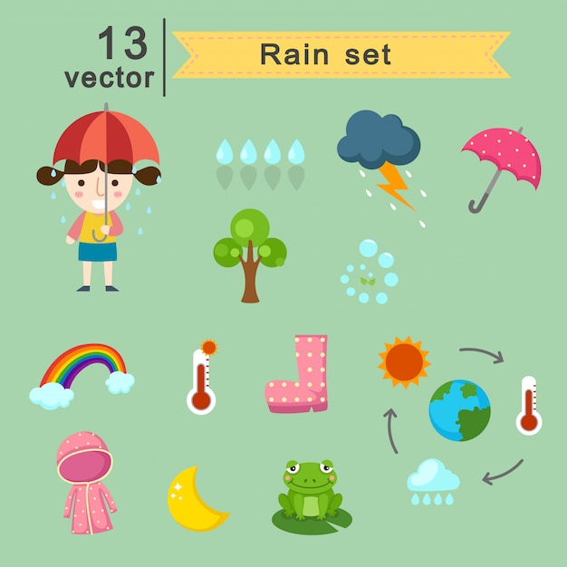 Raining set vector Premium Vector