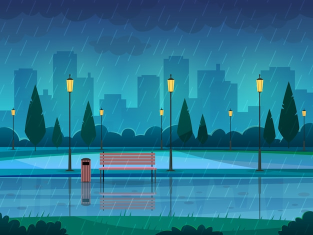 Rainy day park. raining public park rain city nature season path bench street lamp landscape, flat   background Premium Vector