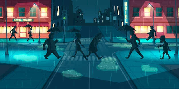 Rainy weather on night city streets vector Free Vector