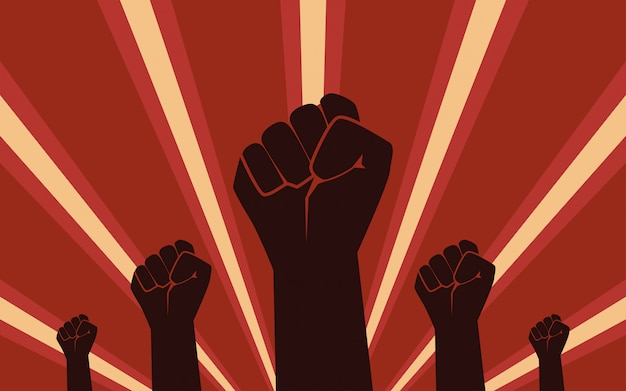 Raised fist hand protest in flat icon design on red color ray background Premium Vector