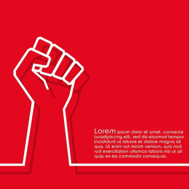 Raised fist minimal line design background Premium Vector