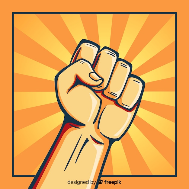 Raised fist for revolution Free Vector
