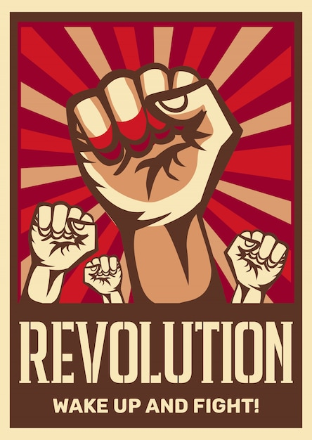 Raised fist vintage constructivist revolution communism promoting poster symbolizing unity solidarity with oppressed people fight Free Vector