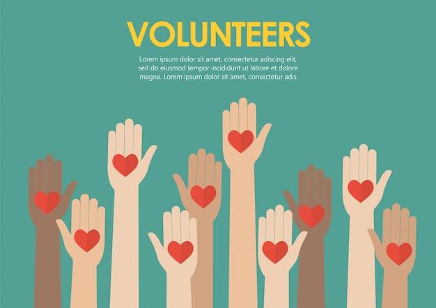 Raised hands volunteers concept Premium Vector