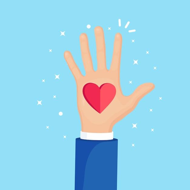 赤いハートで手を上げた。ボランティア、チャリティー、献血のコンセプト。お手入れありがとうございます。群衆の投票。 Premiumベクター
