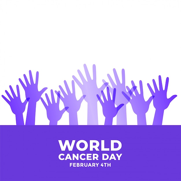 Raised hands for world cancer day awareness Free Vector