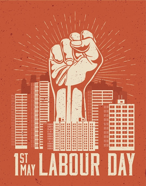 Raised up giant arm fist above red cityscape. 1st may labour day poster concept.  illustration Premium Vector