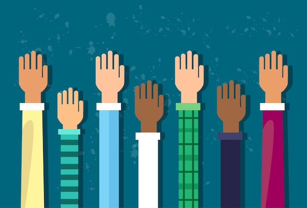 Raised up hands diversity concept Premium Vector