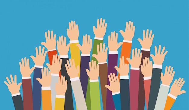 Raised up hands. Premium Vector