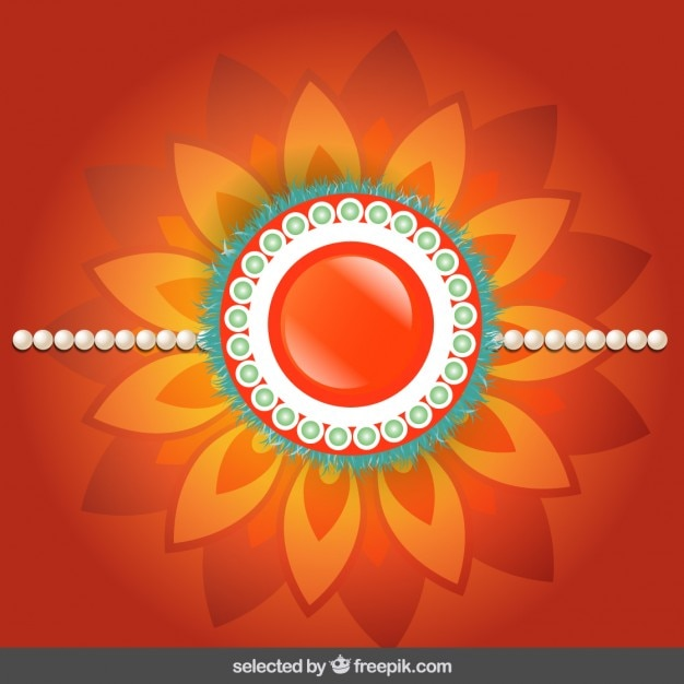Rakhi background with orange floral jewelry Vector | Free Download