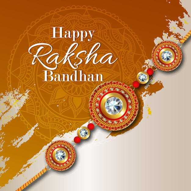 Rakhi card design for happy raksha bandhan celebration Premium Vector