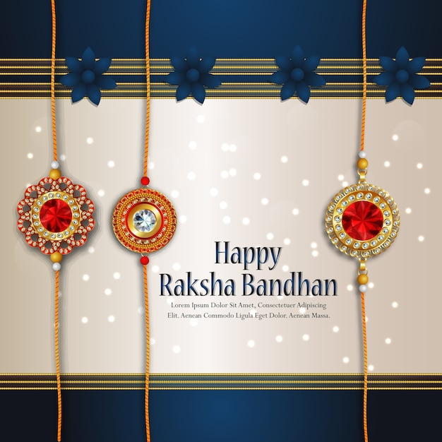 Rakhi card design for happy raksha bandhan celebration Premium Vector