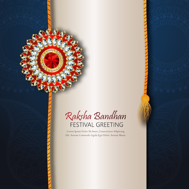 Rakhi design for happy raksha bandhan Premium Vector