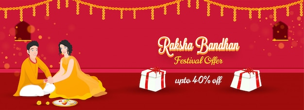 Raksha bandhan background. Premium Vector