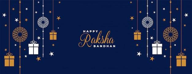 Raksha bandhan blu rakhi e regali banner Vettore gratuito