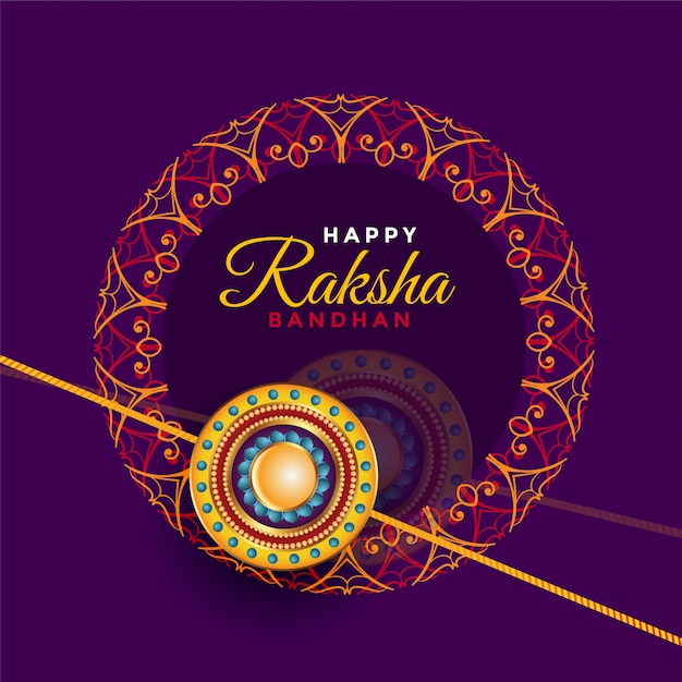 Raksha bandhan brother and sister festival greeting Free Vector