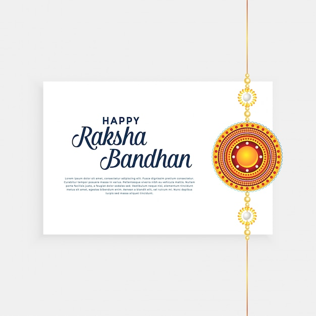 Raksha bandhan festival background with golden rakhi (wristband) Free Vector